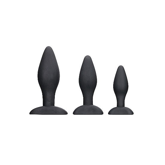 Apex Butt Solid Silicone Plug Set - Black