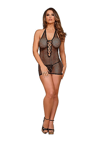 Chemise with Lace Up Back & G-String