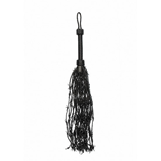 Leather Barbed Wire Flogger - Black