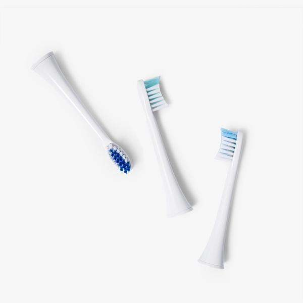 3-pack small replacement brush heads for Elements Sonic Toothbrush.