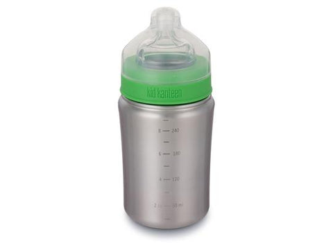 Klean Kanteen Baby Bottle 266ml With Medium Flow Nipple Brushed Stainless