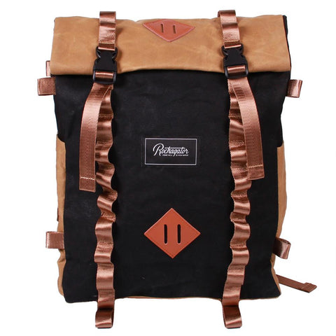Rockagator LIFEstyle Phoenix Waxed Canvas Roll-Top Backpack In Black And Tan