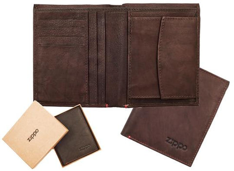 Zippo Leather Vertical Wallet Brown