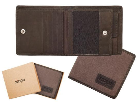 Zippo Leather & Canvas Wallet Mocha & Grey