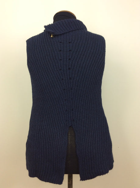 Blue sleeveless jumper