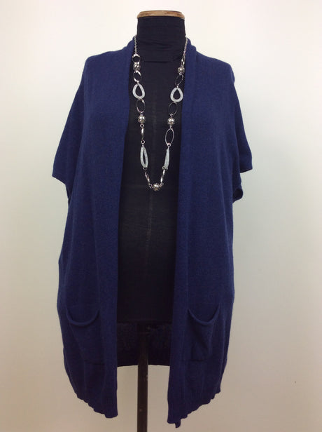 Blue sleeveless cardigan