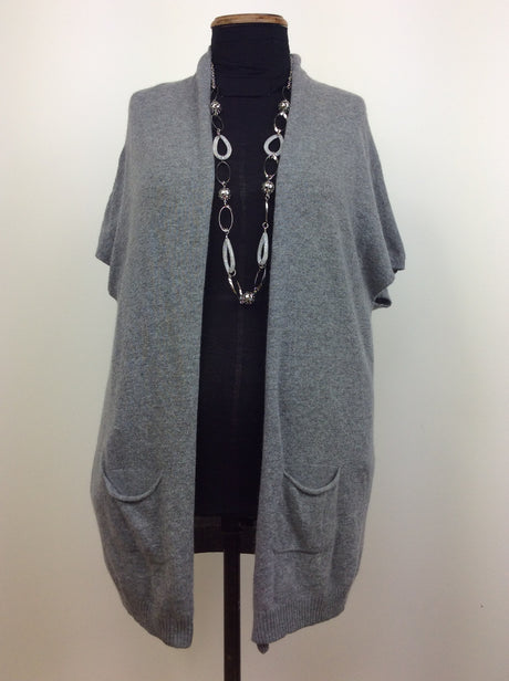 Light grey sleeveless cardigan