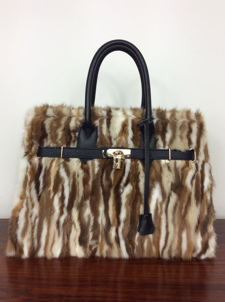 Beautiful Italian leather bag with brown and white fur trim