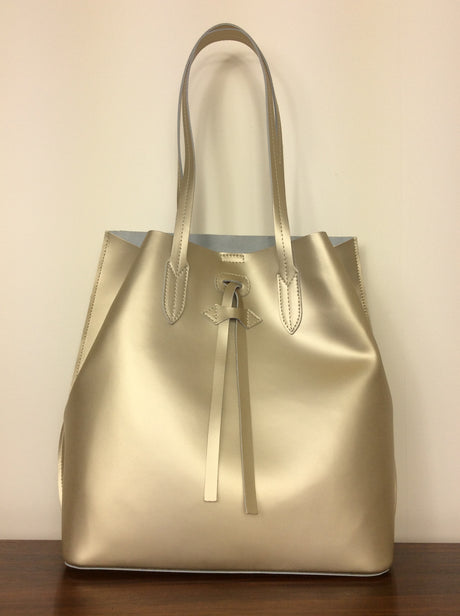 Italian gold metallic leather handbag with shoulder straps