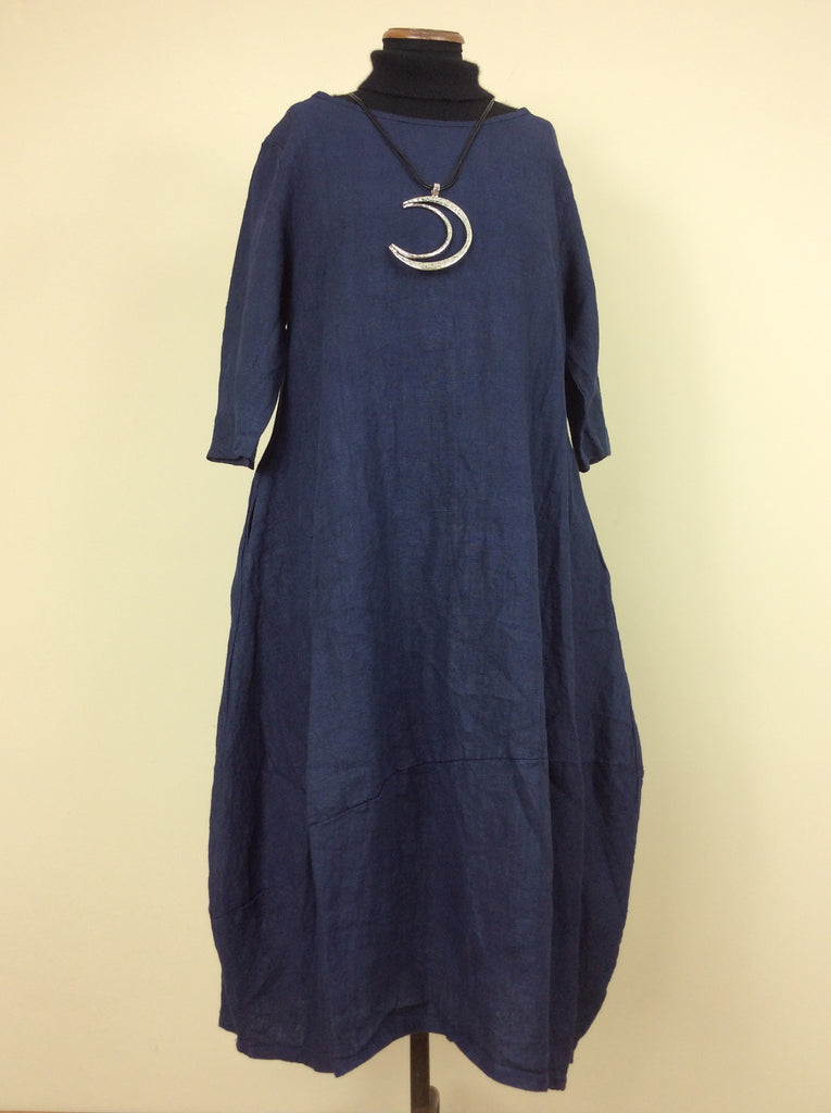Made in Italy blue heavy linen dress