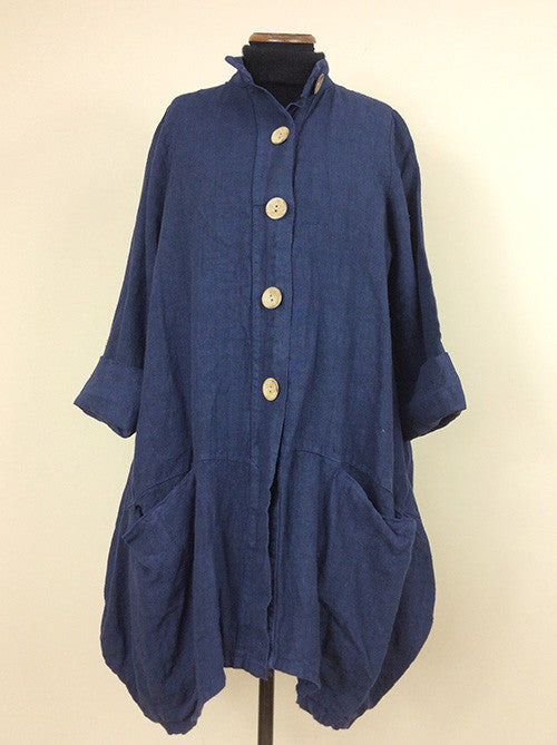 Made in Italy ¾ length heavy linen duster coat