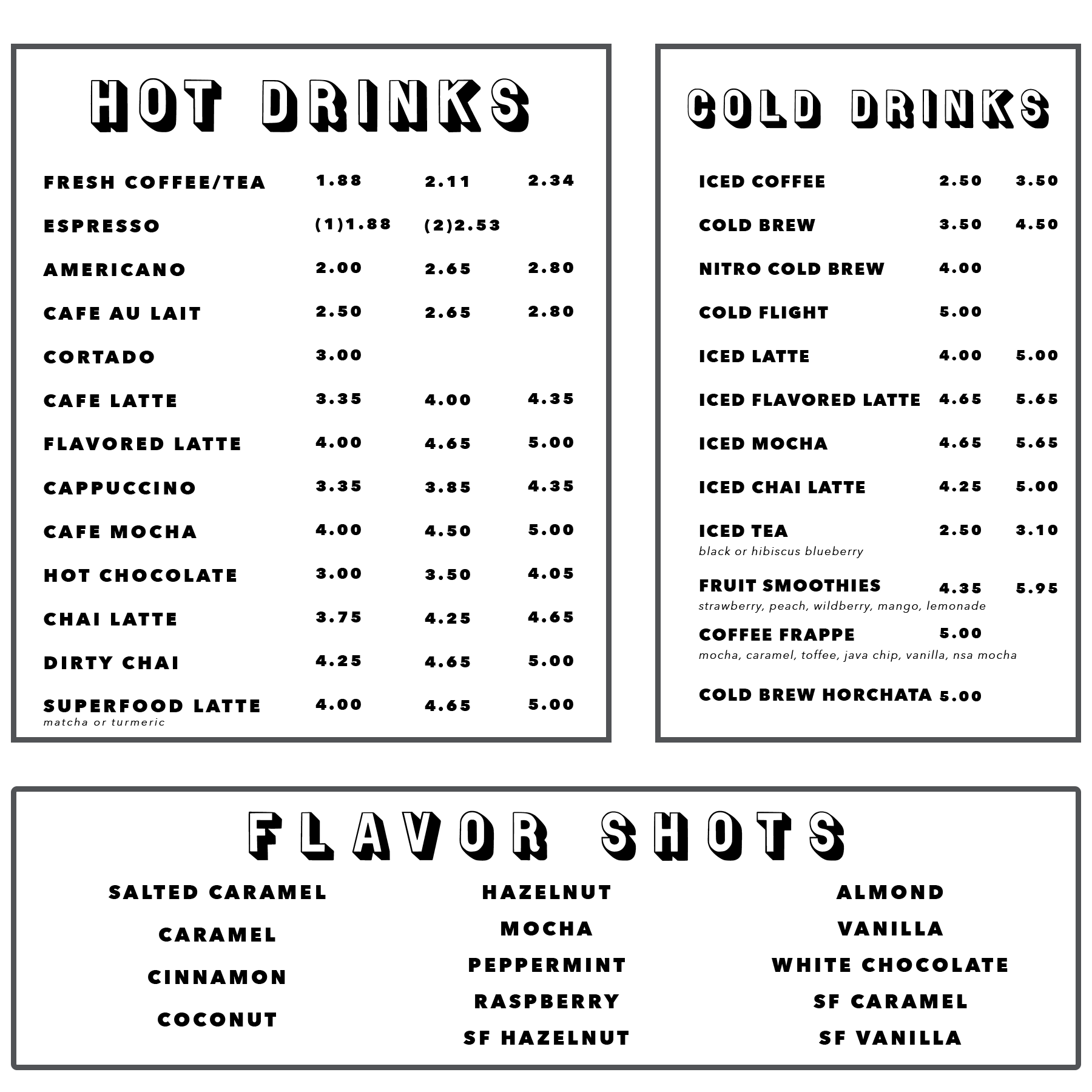 How You Brewin Coffee Company menu; hot drinks and cold drinks.