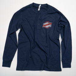 Aermotor Men's Long Sleeve Henley (Navy)