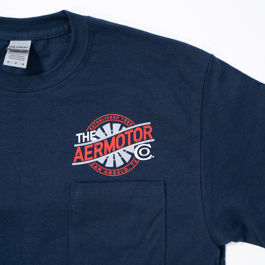 Aermotor Pocket Tee w/ Vintage Truck on Back (Navy)