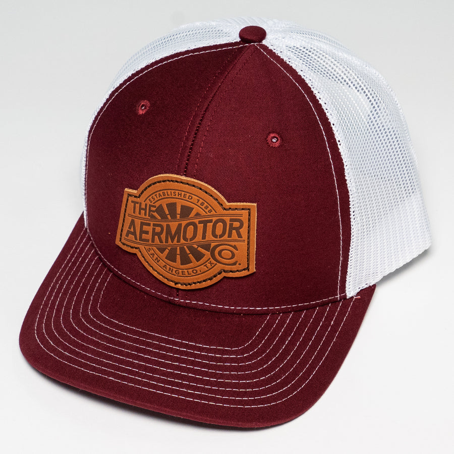 Aermotor Hat Leather Patch (Cardinal-White)