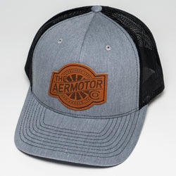 Aermotor Hat Leather Patch (Heather Gray-Black)