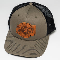 Aermotor Hat Leather Patch (Loden-Black)
