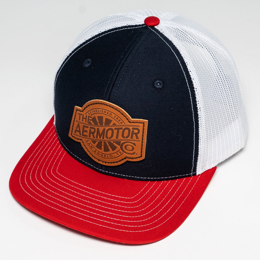 Aermotor Hat Leather Patch (Navy-Red-White)