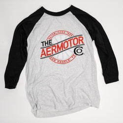 Aermotor Women's Baseball Tee (Heather White-Vintage Black)