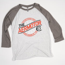 Aermotor Women's Baseball Tee (Heather White-Venetian Gray)