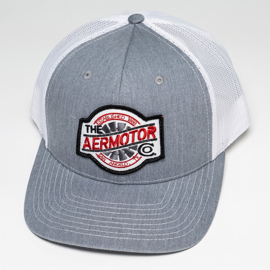 Aermotor Hat Stitch Patch (Heather Gray-White)