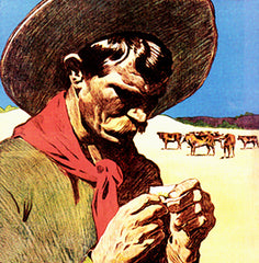 Vintage illustration of an old rancher rolling a cigarette. Credit: VintageBlue