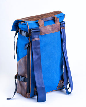 Ford Blue Bomber Bag - Leather & Canvas Backpack