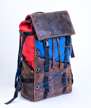 Brick Red & Farm Blue Bomber Bag - Leather & Canvas Backpack