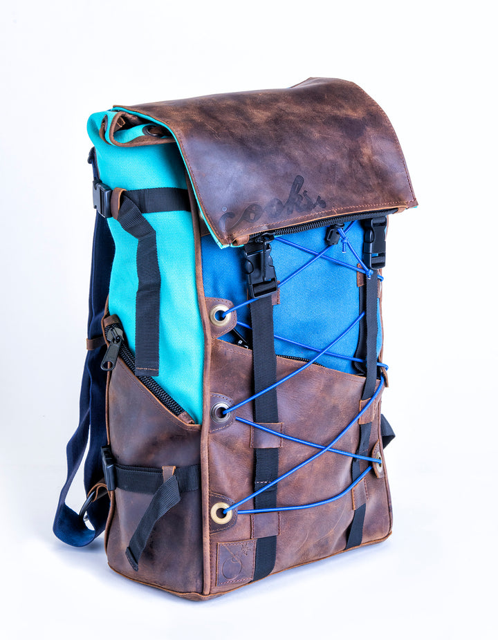 Aqua & Farm Blue Bomber Bag - Leather & Canvas Backpack
