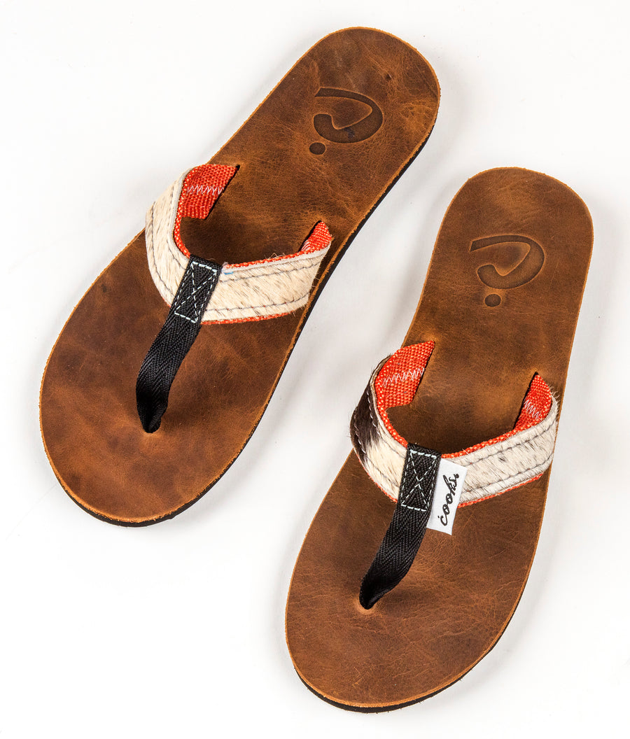 Barnyard - Cherry - Women's Leather & Cowhide Flip Flops