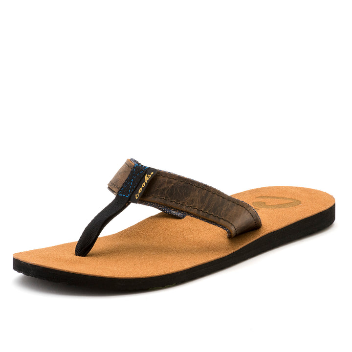 Roadie - Black Grease - Men's Leather Flip Flops