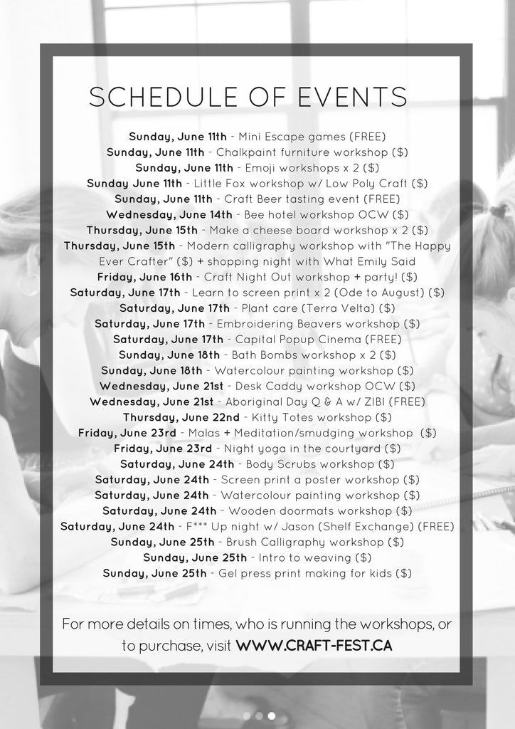 CRAFTFEST schedule of workshops and events