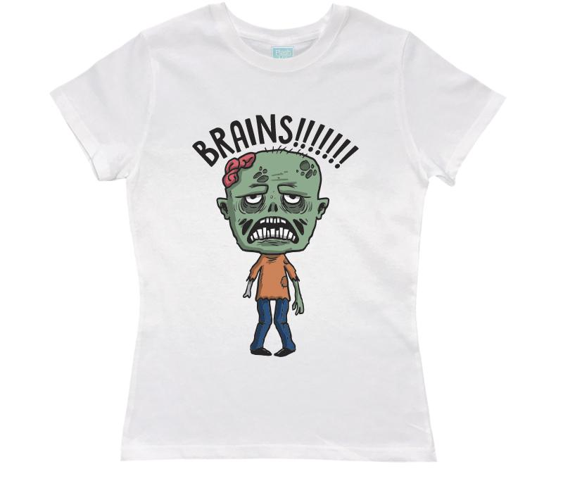 Playera para Dama Brains! Playeras Dama Blanco / CH