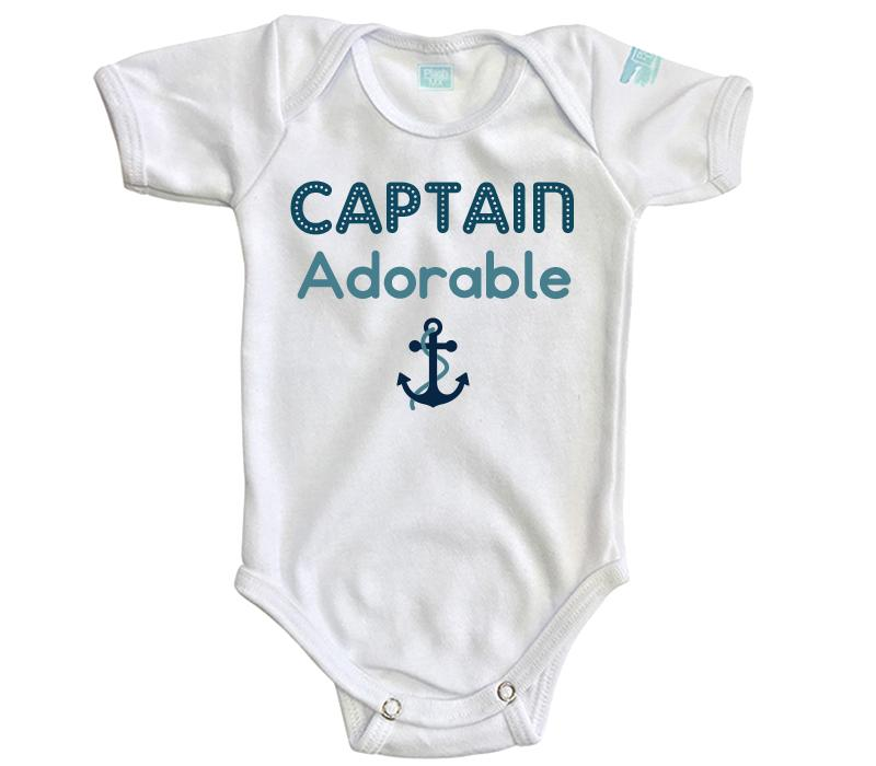 Body Bebé Captain Adorable Pañalero Manga Corta / Blanco / 0m