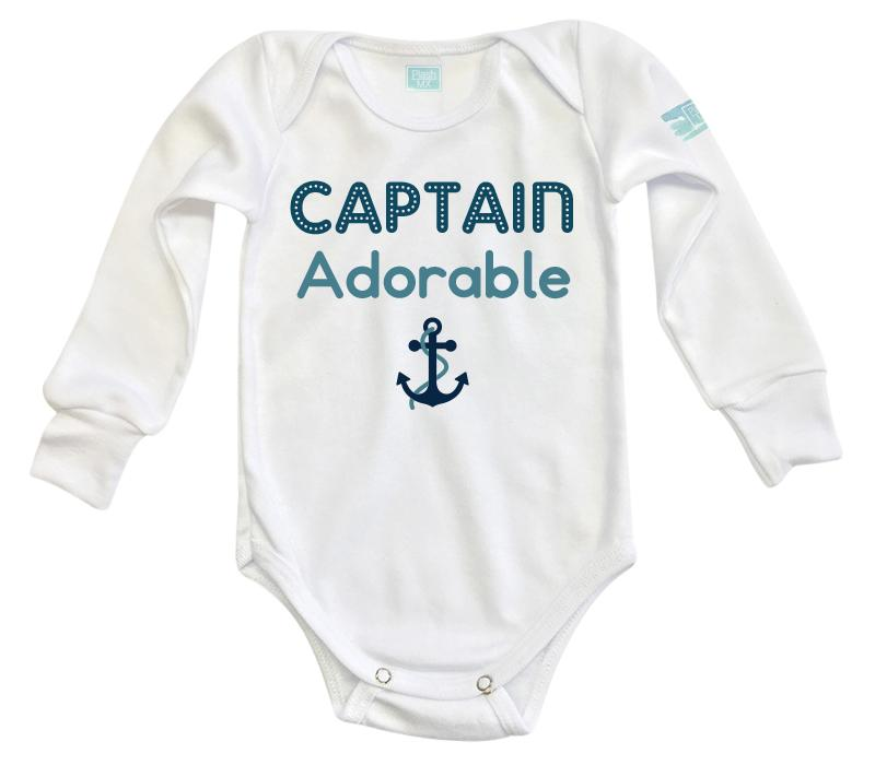 Body Bebé Captain Adorable Pañalero Manga Larga / Blanco / 0m