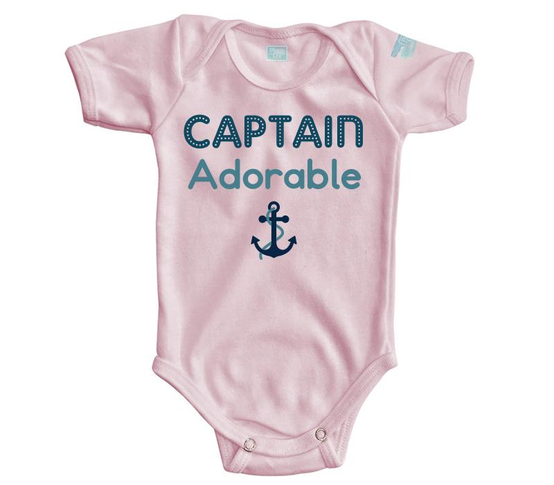 Body Bebé Captain Adorable Pañalero Manga Corta / Rosa / 0m