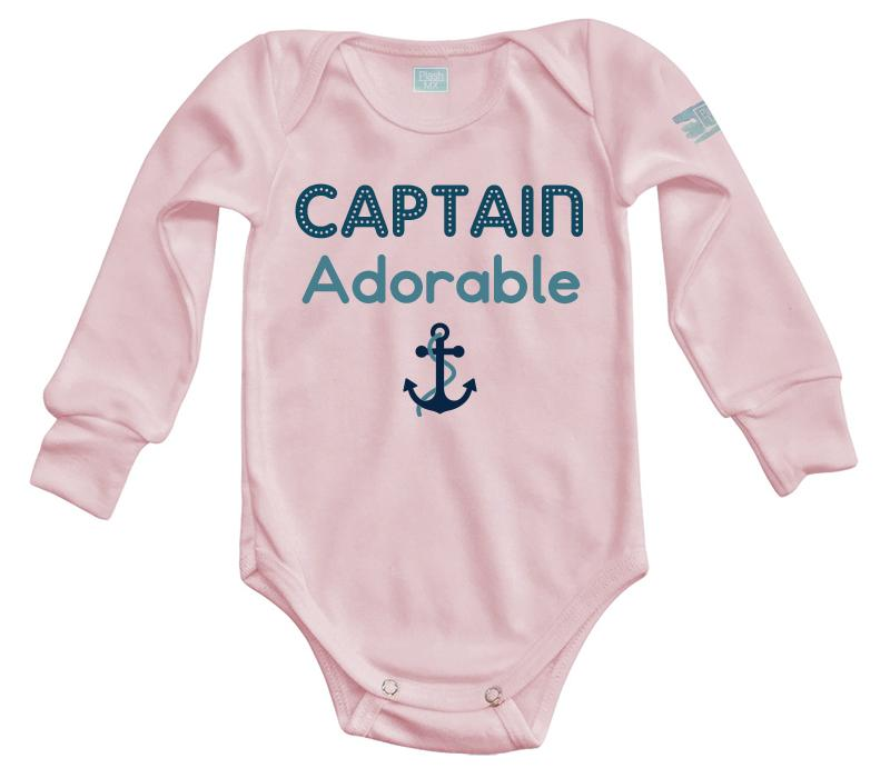 Body Bebé Captain Adorable Pañalero Manga Larga / Rosa / 0m