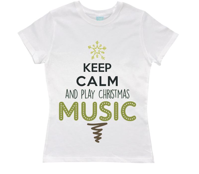 Playera Dama Christmas Music Playeras Dama Blanco / CH / Dama