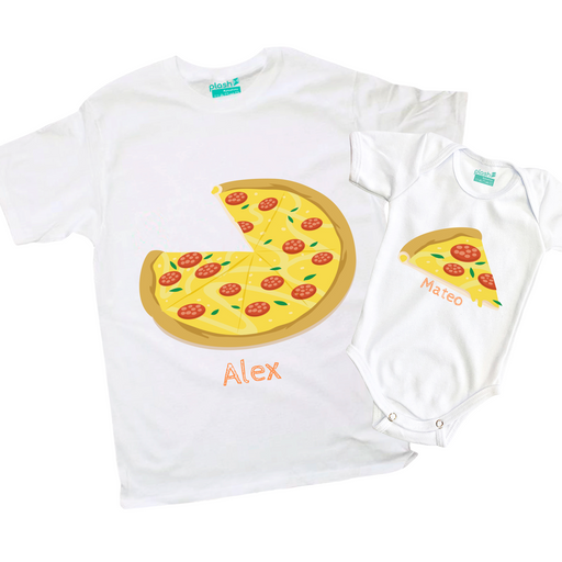 Kit Pizza - Playera y Body Bebé Kit Papás e Hijos
