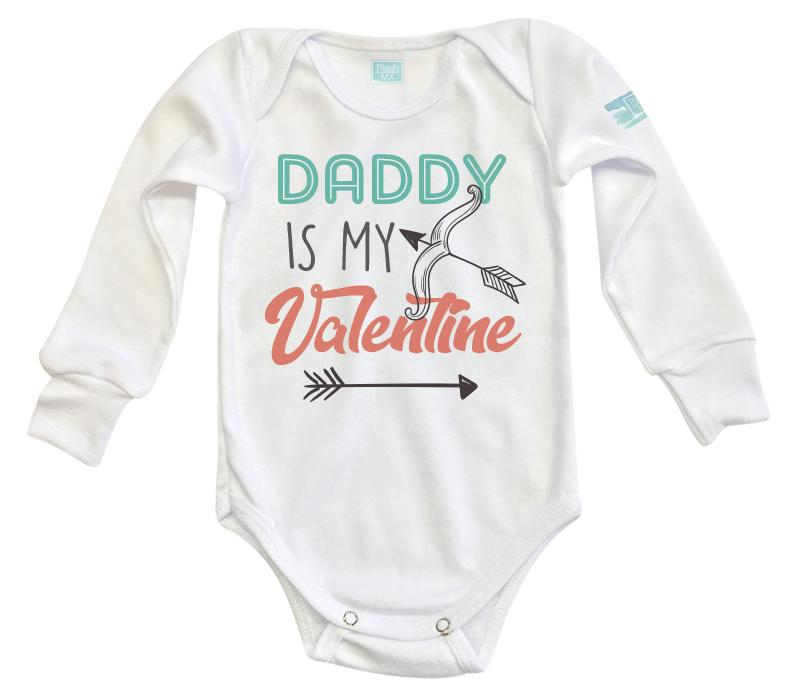 Body Bebé Daddy Is My Valentine Pañalero Manga Larga / Blanco / 0m