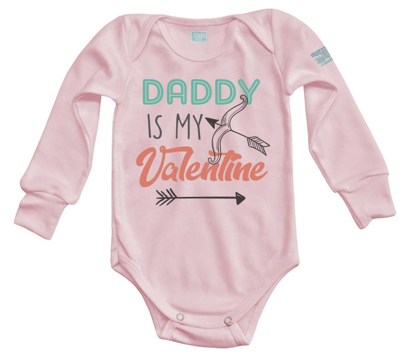 Body Bebé Daddy Is My Valentine Pañalero Manga Larga / Rosa / 0m