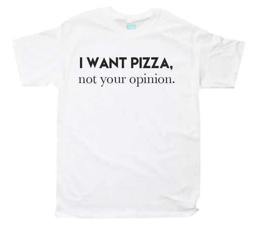 Playera para Caballero I Want Pizza Playeras Plash Blanco CH