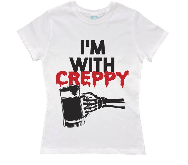 Playera para Dama I'm With Creppy Playeras Dama Blanco / CH