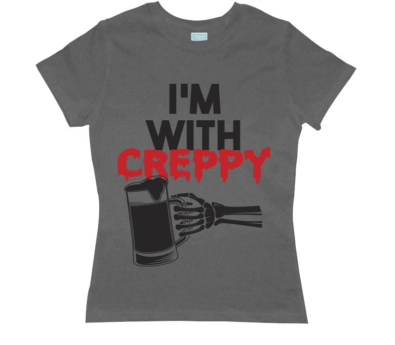 Playera para Dama I'm With Creppy Playeras Dama Gris / CH