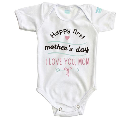 Body Bebe Happy First Mother's Day Pañalero Plash Blanco Corta 0m