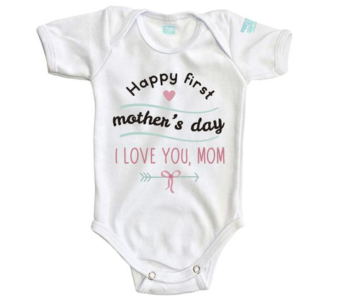 Body Bebe Happy First Mother s Day Pañalero Plash Blanco Corta 0m c3ab413e87e