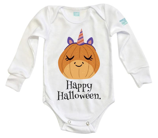 Body Bebé Happy Halloween Calabaza Unicornio Pañalero Manga Larga / Blanco / 0m