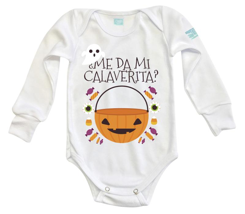 Body Bebe Mi Calaverita Pañalero Plash Manga Larga Blanco 0m