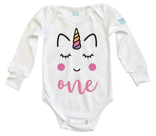Body Bebé One Unicorn Pañalero Manga Larga / Blanco / 0m
