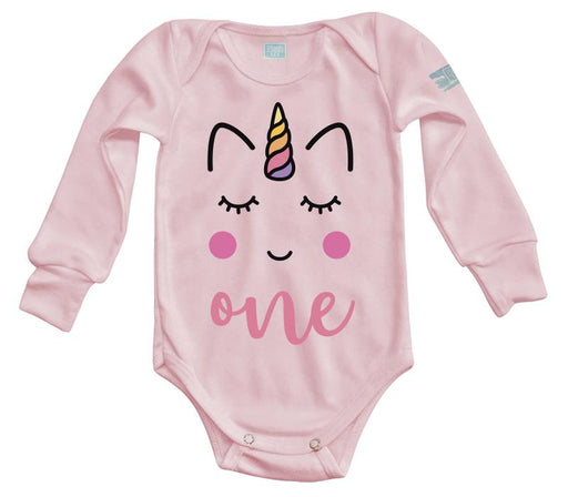Body Bebé One Unicorn Pañalero Manga Larga / Rosa / 0m